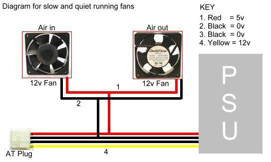 Diagram, Slowing cooling fans using 5v supply